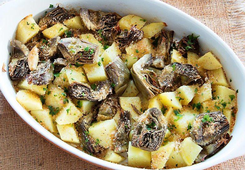 tortiera di carciofi e patate alla calabrese